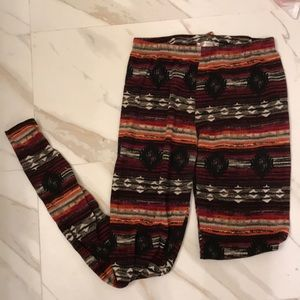 Black red orange cream tribal print leggings